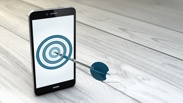 smartphone over white wooden background with target