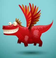 Vector funny dragon red color. Image of funny cartoon smiling dragon red color on a blue background.