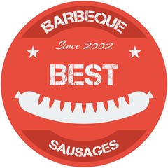 Flat design bbq, grill; sausages; restaurant; retro vintage badges, ribbons and labels hipster signboard