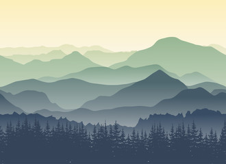 Green mountains landscape in summer. Seamless background.