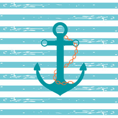Nautical Ship Anchor / Illustration of a ship anchor and chain in a teal color with blue and white stripped background.