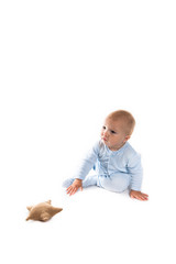 Baby boy  with stars, the little prince on a white background