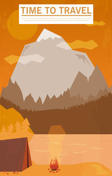 Vector vintage background with forest, mountains and hills