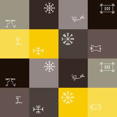 Seamless background with mascots of Scandinavian warriors for your design (ottastafur, odin, end strife, aegishjalmur, lasabrjotur, binding, gapaldur, vegvisir)