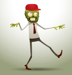 Vector new office zombie in a red cap. Image zombie green color in a red cap, in a white shirt, gray trousers and tattered brown tie on a gray background.