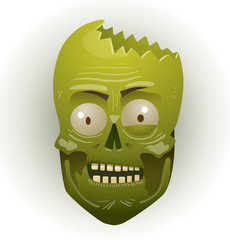 Vector zombie face man with a broken head. Image of the face zombie men green color with a broken head on a light background.