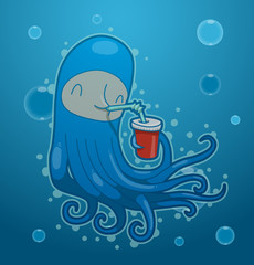 Vector funny blue octopus. Image of funny cartoon octopus of blue color with a drink on blue sea background.