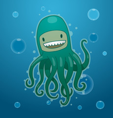 Vector funny green octopus. Image of funny cartoon octopus of green color on blue sea background.