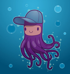 Vector funny purple octopus. Image of funny cartoon octopus of purple color wearing a cap on blue sea background.