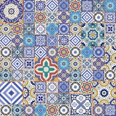 Mega  seamless patchwork pattern .  Moroccan tiles, ornaments.