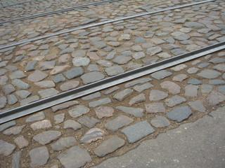 Cobble pavement with tram rails