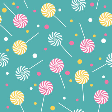 Seamless retro pattern with lollipops