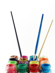 colorful of bottles poster color and paintbrush