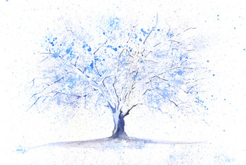 Watercolor winter tree