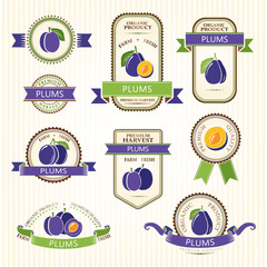 Plum labels. Fruits labels collection.