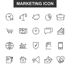 Thin lines marketing icons