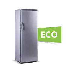 ew, Stainless steel big freezer, ECO word, grey metallic, isolated on white.with fresh food, isolated, ecology, ECO