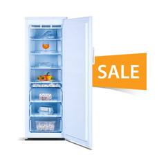 Freezer on white background, open, front view, with fresh food, isolated, ecology, Sale