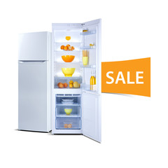 Two refrigerators isolated on white, open door, Class A+, A plus plus, eco, fresh food