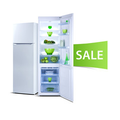 Two refrigerators with fresh food, open door, Class A plus, Eco word, web banner, isolated on white
