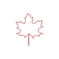 Maple leaf contour vector illustration