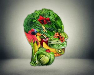Healthy lifestyle choice. Fresh vegetables and fruit shaped as human head