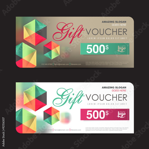 Gift Voucher Template With Colorful Pattern,cute Gift Voucher Certificate Coupon  Design Template, Collection  Free Voucher Design Template