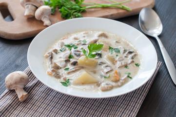 plate of vegetarian mushroom soup