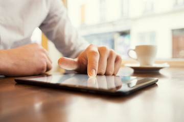 Man using Tablet pc. Credit card, Shopping online. Window background
