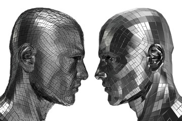Two Robots in profile looking at each other
