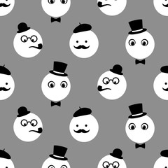 Seamless pattern with abstract funny cartoon faces with glasses, mustache, bow-tie, hat, tobacco pipe on grey background. Child drawing style persons.
