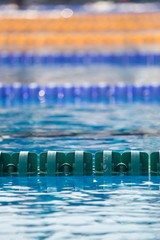Close up of swim lanes in olympic swimming pool