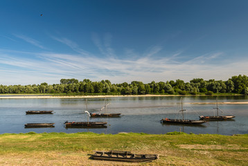 Traditional old boats on a Loire river,France.