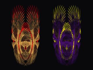 Demon masks, abstract drawing
