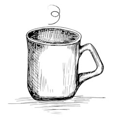 Hand drawn cup of coffee or tea