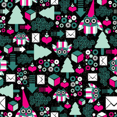 Seamless pattern with winter owl.