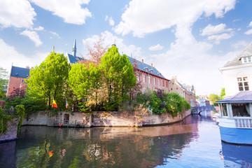 Dijver view from the river in Bruges, Belgium