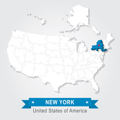 New York state. USA administrative map.