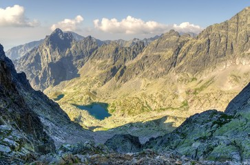 Summer mountain landscape. View on the Five Spiskie Lakes Valley (kotlina Piatich Spisskych plies) in High Tatra Mountains, Slovakia.
