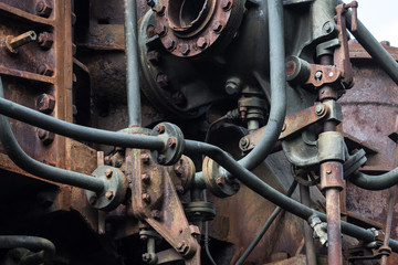 old rusted machine. rusty metal machinery detail. aged technology