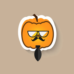 Pumpkin hipster big glasses and tie