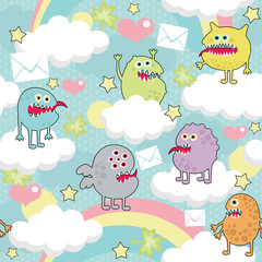 Cute monsters on clouds seamless texture.