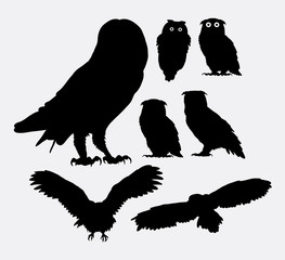 Poster Uilen cartoon Owl bird silhouettes. Good use for symbol, web icon, logo, mascot, or any design you want.