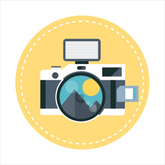 Camera theme, flat style, colorful, vector icon set for info gra
