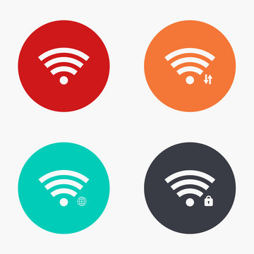 Vector modern wi fi colorful icons set