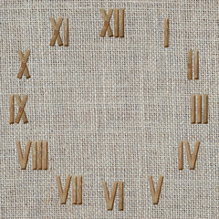 roman numerals clock  on burlap fabric background