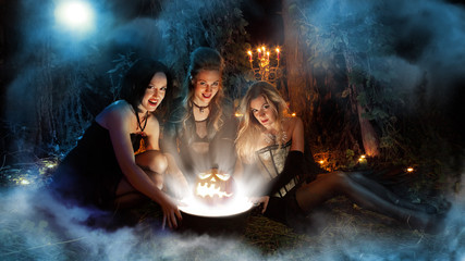 Three beautiful witches are making magic. Dark forest on the bac