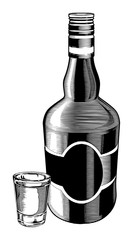 Whiskey Bottle and Shot Glass is an illustration of a bottle and a shot glass done in a vintage engraved style.