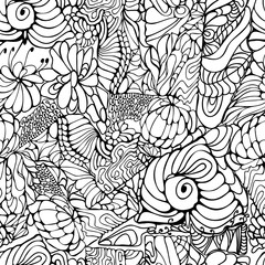 Abstract Outline Tangle Background Doodle Zentangle Floral Retro Seamless Pattern