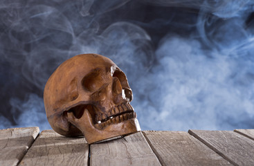 Skull on Smoky Background